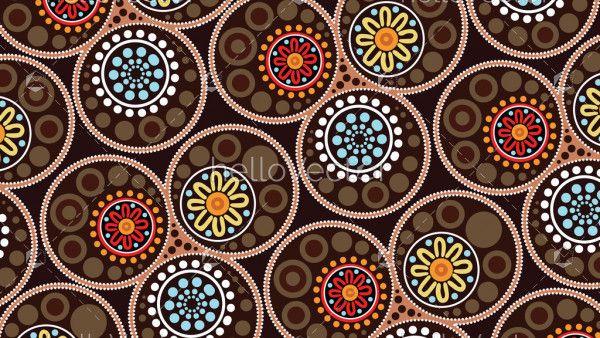 Aboriginal landscape dot art background - Vector illustration