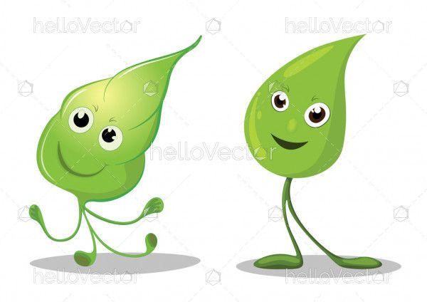 Happy leaves cartoon characters, Leaf Mascot - Vector illustration