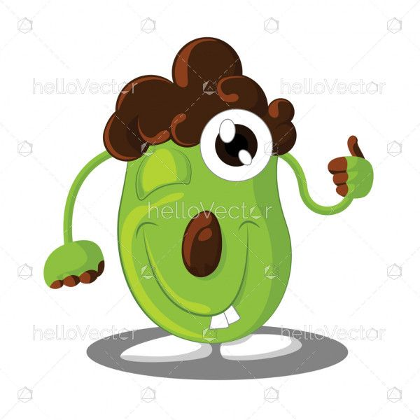Cute cartoon character with thumbs up isolated on white background - Vector illustration