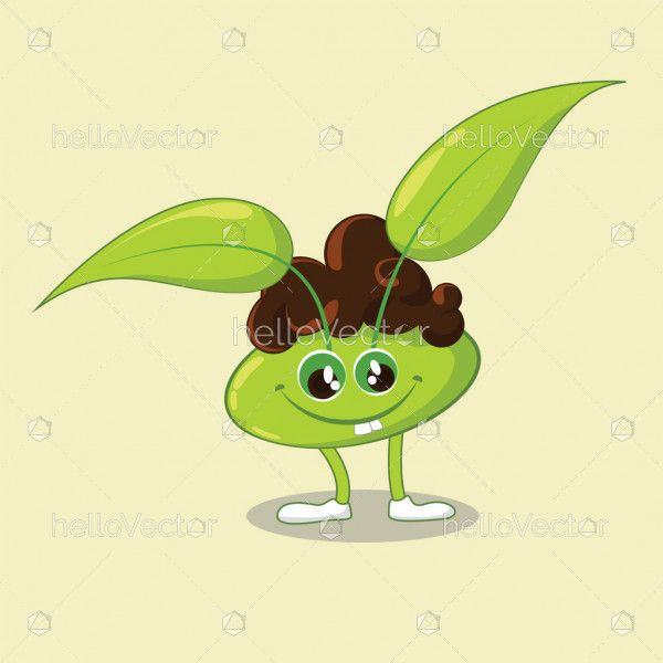 Happy cute cartoon character with leaves, Leaf Mascot - Vector illustration