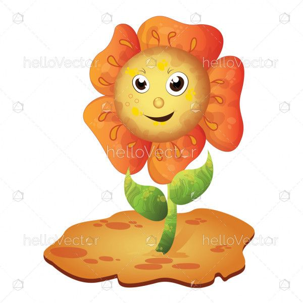 Cartoon happy sunflower character - Vector illustration