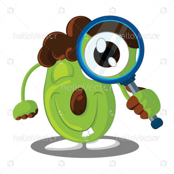 Cute cartoon looking through magnifying glass - Vector illustration