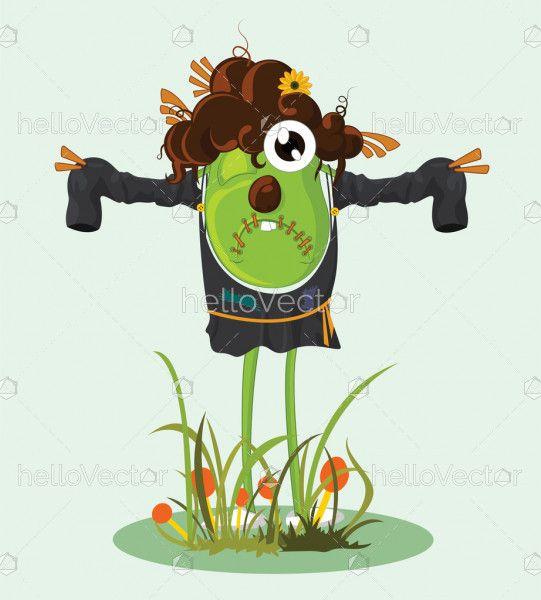 Cartoon scarecrow character - Vector illustration