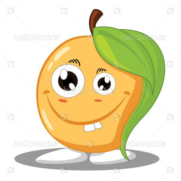 Mango cartoon character, Smiling mango mascot - Vector illustration
