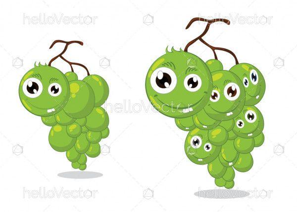 Grapes cartoon characters - Vector illustration