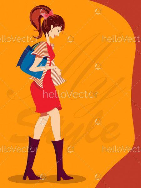 Stylish fashion girl, Fashion cover page design - Vector illustration