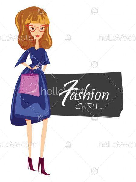Fashion woman in sunglasses, Beautiful stylish model posing, Fashion banner - Vector illustration