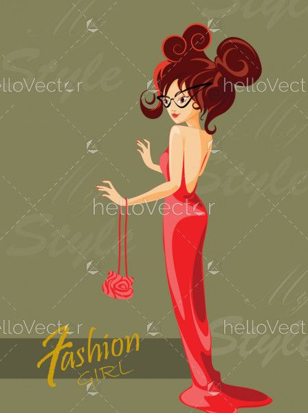 Fashion woman in red dress illustration, Beautiful stylish model posing, Fashion cover page design - Vector