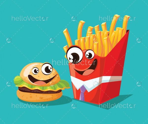 Fast food cartoon characters, burger and french fries with cute smiling face