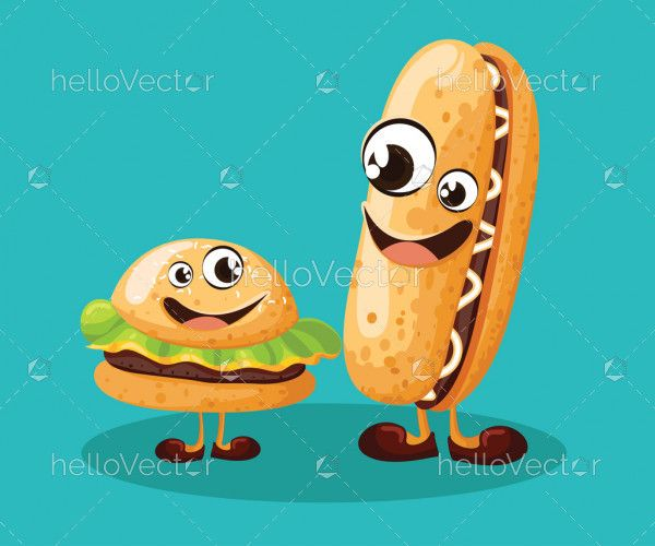 Funny burger and hot dog cartoon characters with cute smiling face