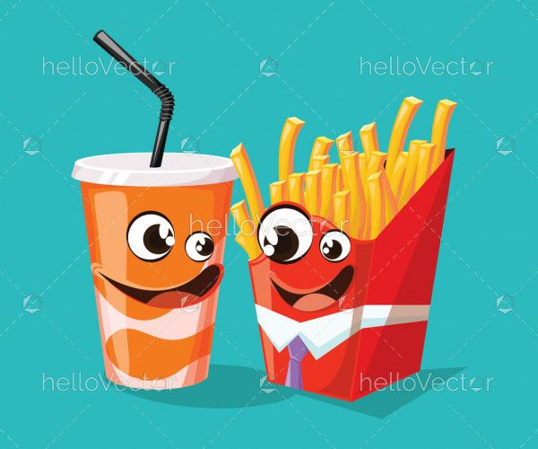 Fast food cartoon characters inspired by french fries and soda - vector illustration
