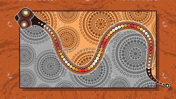 Aboriginal art vector painting with snake