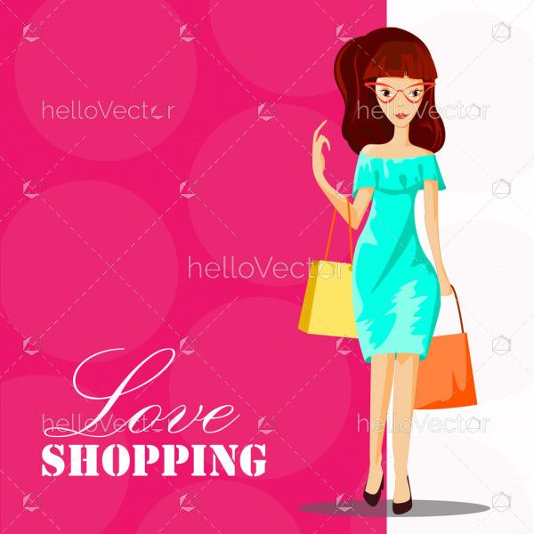 Fashion woman with shopping bag - Vector illustration
