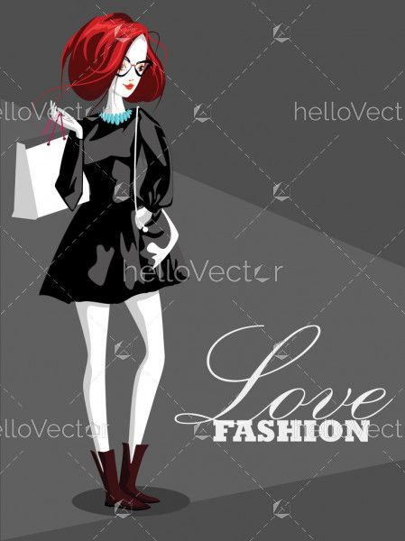 Fashion woman with shopping bag Vector