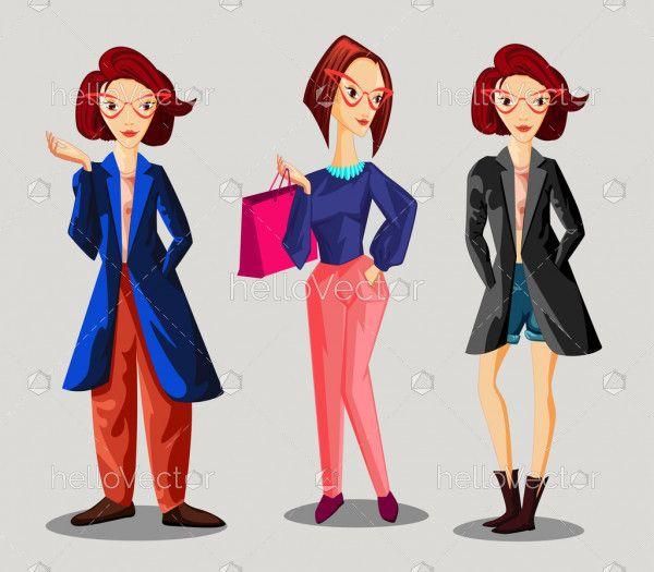 Fashion girls cartoon character set - Vector illustration