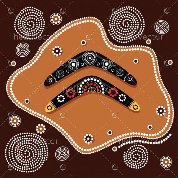 Aboriginal art vector painting with boomerang.