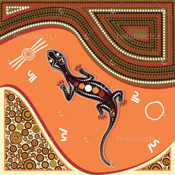 Lizard vector, Aboriginal art background with lizard