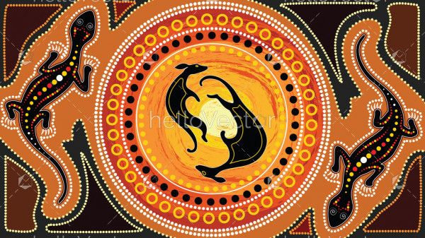 Aboriginal art vector painting with kangaroo and lizard