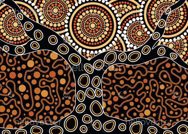 Aboriginal art vector painting with tree