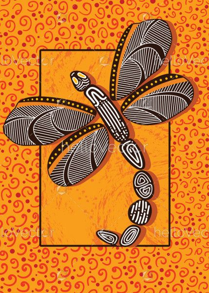 Dragonfly aboriginal art vector painting