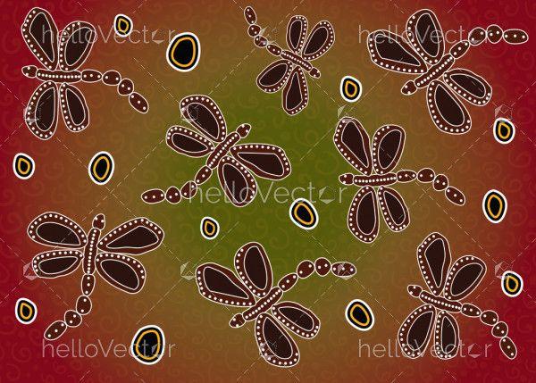 Dragonfly aboriginal art vector background.