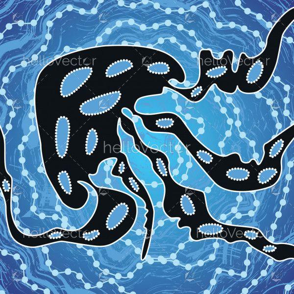 Aboriginal art vector background depicting jellyfish