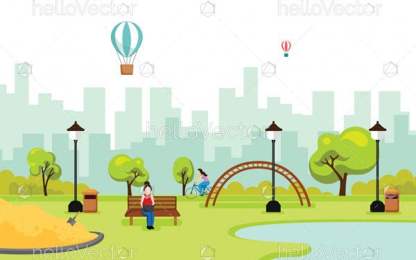 Park vector background. City park landscape illustration in flat style.