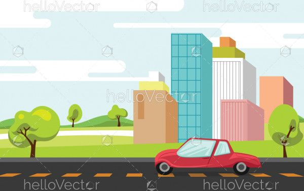 City building near road vector flat illustration
