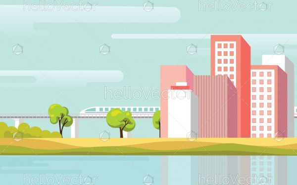 Urban landscape background with modern buildings